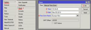 Настройка времени и даты в MikroTik
