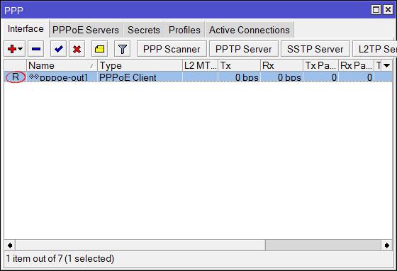 PPPoE соединение на MikroTik установлено
